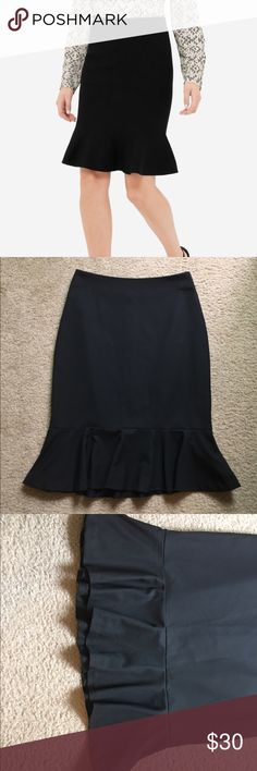 Host Pick! The Limited Flounce Hem Skirt Black Flounce hem skirt by The Limited. Part of the Black Collection. The length is 23 inches. Zips up the side. Size 0, NWOT. Open to offers; bundles discounted! The Limited Skirts