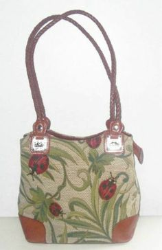 M C Marc Chantal Tapestry Ladybug Brown Leather Trim Shoulder Bag