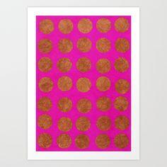 Gold Dots_Fuschia Art Print by Garima Dhawan   Society6