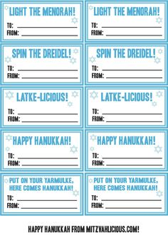 Happy Hanukkah everyone! As my special gift to you, here are some easy to use gift tags for all yo. Hanukkah 2017, Jewish Hanukkah, Hanukkah Crafts, Happy Hanukkah, Hannukah, Christmas Printables, Party Printables, Free Printables, Bat Mitzvah Party