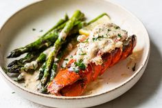 Maine Lobster Tails with Creamy Lemon Parmesan and Asparagus | Lobster from Maine Lobster Shack, Lobster Meat, Lobster Tails, Stuffed Lobster Tail, Lobster Risotto, Lobster Salad, Lobster Recipes, Seafood Recipes, Seafood Dishes