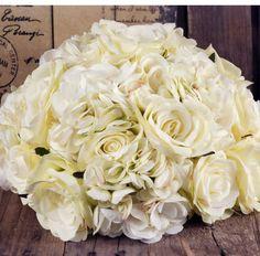 Floral Ball in Cream Silk - centerpieces Blush Pink Wedding Flowers, Silk Wedding Bouquets, Blush Pink Weddings, Floral Wedding, Wedding Day, Wedding Stuff, Silk Flowers, Bouquet Flowers, Save On Crafts
