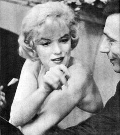 """Marilyn Monroe and Yves Montand at a press conference for """"Let's Make Love"""", January 16th 1960."""