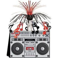 Card boom box centrepiece - 80's #stereo #party table #decoration ,  View more…