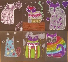 Laurel Burch inspired cats - oil pastels on black card