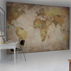World Map Wallpaper Mural - Browns and Yellows