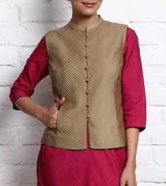 Beige Cotton Tussar Nehru Jacket https://www.facebook.com/nikhaarfashions