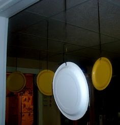 For a kid's Mario party hang yellow plates from the ceiling!