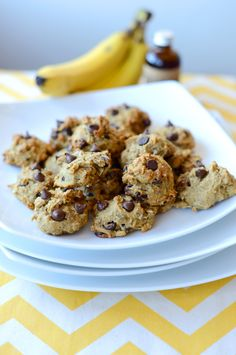 Vegan Chocolate Chip Banana Bread Bites with oats, whole wheat flour, little bit of oil, little bit of agave or maple syrup.