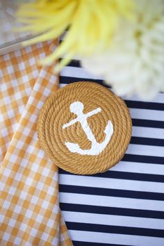 """Nautical coaster.... For the ocean front mansion i will """"summer"""" at one day."""