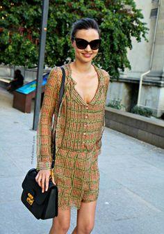 Miranda Kerr wearing a chiffon printed dress