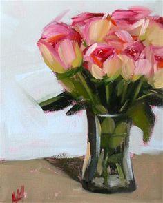 """""""pink roses in vase no. 3"""" - Original Fine Art for Sale - © Angela Moulton"""