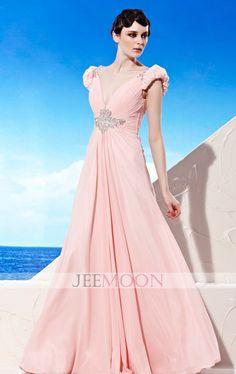 Floor-length A-line V-neck Pink Chiffon Formal/Evening Dress