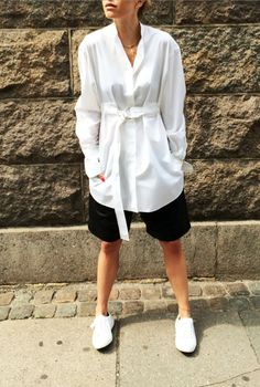Pernille in Celine shirt and Ganni leather shorts