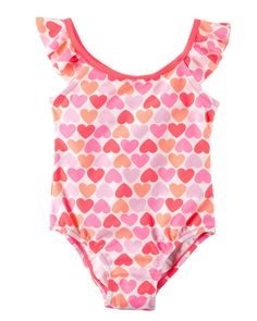 099c0a8b9b Baby Girl Carter's Ruffle-Sleeve Heart Swimsuit from Carters.com. Shop  clothing &