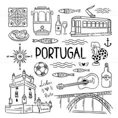 Portugal elements and symbols. Hand drawn icons of Portugal, Lisbon and Porto. Outline travel icons Portugal elements and symbols. Hand drawn icons of Portugal, Lisbon and Porto. Symbol Hand, Travel Doodles, Bullet Journal Travel, Element Symbols, Buch Design, Diy Design, Travel Icon, Travel Illustration, Thinking Day