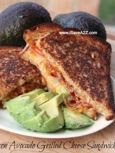 Bacon Avocado Grilled Cheese Sandwich!  Made with 3 different cheese.  OH. MY. WORD this was delicious!