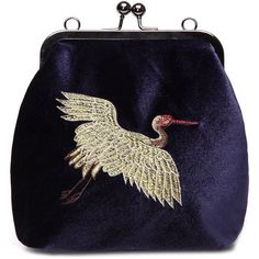 Blue Velvet Animal Embroidery Across Body Bag with Braided Strap (480 ARS) ❤ liked on Polyvore featuring bags, handbags, shoulder bags, blue shoulder bag, embroidery handbags, cross-body handbag, kisslock handbags and crossbody purses