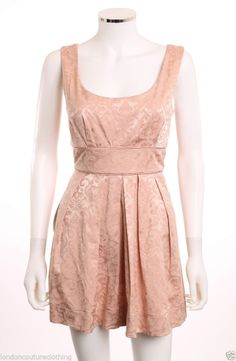SPEECHLESS ROUND NECK SLEEVELESS EMPIRE WAIST POCKETS  BROCADE PINK DRESS SZ 7  #Speechless #EmpireWaist #sweetheart