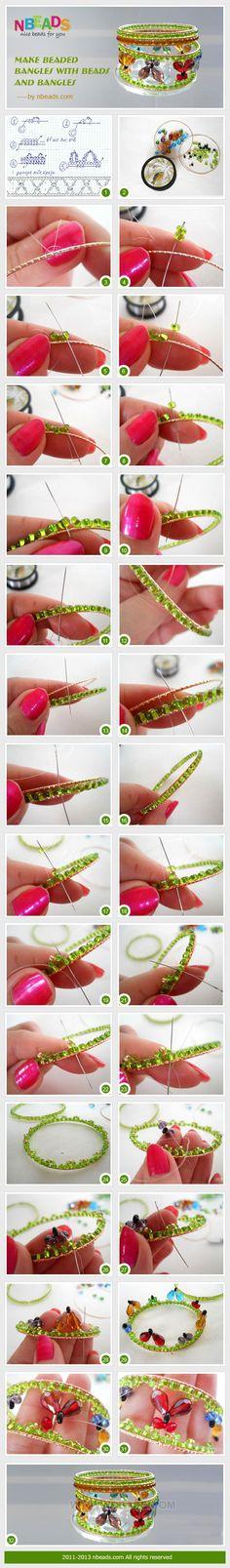 make beaded bangles with beads and bangles