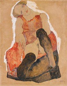 Egon Schiele Mädchen Mit Schwarzen Strümpfen (Girl with Black Stockings), 1911 Gustav Klimt, Figure Painting, Painting & Drawing, A4 Poster, Poster Prints, Modern Art, Contemporary Art, Figurative Kunst, Vintage Artwork