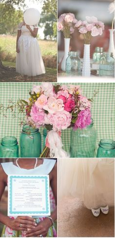 blue mason jars, hobnail milk glass vases, perfection in pastels #centerpiece