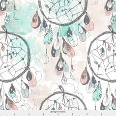 Pastel Dreamcatcher Fabric  Starry Dream Catcher By Crystal
