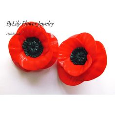 Summer Trendy Big Polymer Clay Poppy Flower Earrings (Clips) -... ($30) ❤ liked on Polyvore