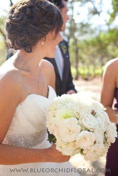 Lush creamy white bridal bouquet - Dahlias, Garden Roses, Hydrangea - design by Heather Murdock of The Blue Orchid