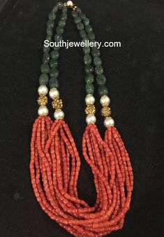 Multi strand mala adorned with coral beads, emerald beads, south sea pearls and nakshi balls. Gold Jewelry Simple, Coral Jewelry, Dainty Jewelry, Bohemian Jewelry, Luxury Jewelry, Cute Jewelry, Silver Jewelry, Jewelry Rings, Cartier Jewelry