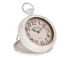 Relógio MDF lacado branco, 20x20x22 cm