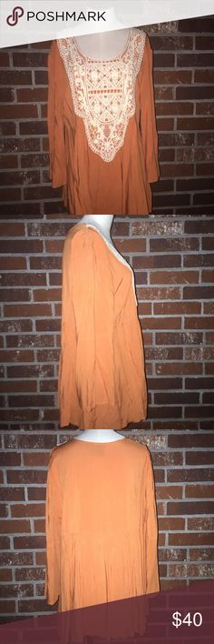 Crochet Top Never Worn. New Without Tags. Burnt orange and cream with round neck and crochet detailing. 100% Viscose. Noelle Tops Tees - Long Sleeve