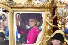 Princess Maxima of The Netherlands rides in the Golden Chariot after attending Budget Day announcement on Sep 18, 2012 in The Hague, Netherlands.