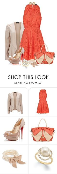"""""""Coral and Pearls"""" by shakerhaallen ❤ liked on Polyvore featuring Wallis, Juicy Couture, Christian Louboutin, Fiorelli, J by Jasper Conran and Susan Caplan Vintage"""