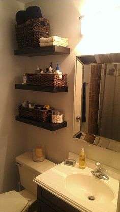 Make over! Shelves add a lot to this small room.