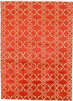 5.42x7.50 Orange and Cream Geometric & Contemporary Wool Rug without Borders - Sale Price: $430.00