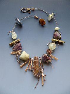 Crystal, amazonite, helidore, stick pearls, ruby LuciaAntonelli.com