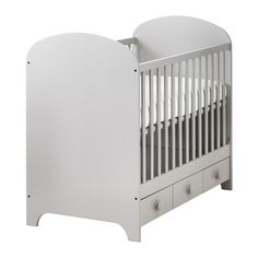 GONATT Crib IKEA The bed base can be placed at two different heights. The bed base can be placed at two different heights. One crib side can be removed when the child is big enough to climb into/out of the crib. Ikea Crib, Ikea Nursery, Nursery Crib, Nursery Furniture, Small Space Organization, Nursery Organization, Small Storage, Organization Ideas, Storage Ideas