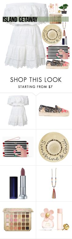 """Island Getaway"" by maymimix ❤ liked on Polyvore featuring LoveShackFancy, Alexander McQueen, Kate Spade, Betsey Johnson, Maybelline, Marc Jacobs and Nearly Natural"