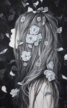 Long hair drawing, fantasy art, girls with flowers, flowers in hair, flower Art Anime, How To Draw Hair, Flowers In Hair, Flower Hair, Oeuvre D'art, Art Inspo, Art Girl, Amazing Art, Fantasy Art