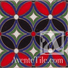 "Geometrical Petals G 6"" x 6"" Hand-Painted Ceramic Tiles 