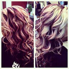 blonde, purple & dark brown with red. love it :):