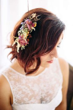 floral and feather hair clip