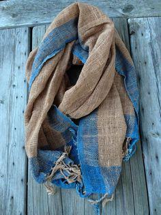 Handwoven shawl with 100 % organic handspun cotton : Indigo blue (Fah mui) and mud brown