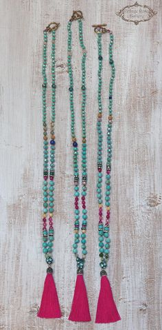 Silk Tassel Necklace Colourful Tassel Necklace Turquoise - The latest in Bohemian Fashion! These literally go viral!
