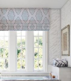 Faux Roman Shade Lined Mock Valance Snowy Blue Taupe White Stationary Shade Custom Sizing Available!