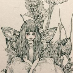HiguchiYuko Vampire Illustration, Graphic Illustration, Painting Inspiration, Art Inspo, Beautiful Fairies, Flower Fairies, Illustrations, Cat Art, Alice In Wonderland