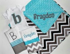 Adorable baby boy blue, grey, black and white chevron stuff with monogram! I love the blue and the black!