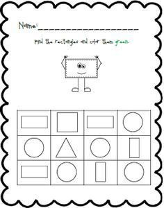 Shape and Color Practice Pre K Worksheets, Shapes Worksheet Kindergarten, Shapes Worksheets, Numbers Preschool, Preschool Activities, Black Bee, Head Start, Learning, Homeschooling