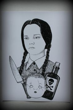 Wednesday Addams portrait print by Beautymarkings